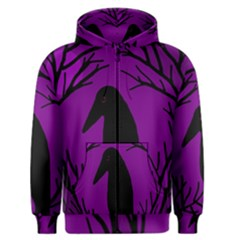Halloween Raven   Purple Men s Zipper Hoodie by Valentinaart