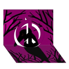 Halloween Raven   Magenta Peace Sign 3d Greeting Card (7x5) by Valentinaart