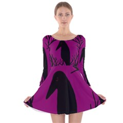 Halloween raven - magenta Long Sleeve Velvet Skater Dress by Valentinaart