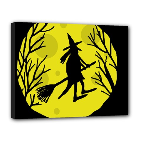 Halloween Witch   Yellow Moon Canvas 14  X 11  by Valentinaart