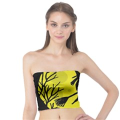 Halloween Witch   Yellow Moon Tube Top by Valentinaart