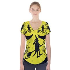 Halloween Witch   Yellow Moon Short Sleeve Front Detail Top by Valentinaart