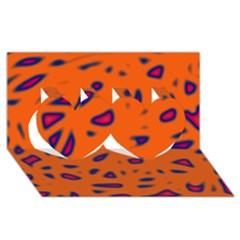Orange Neon Twin Hearts 3d Greeting Card (8x4) by Valentinaart