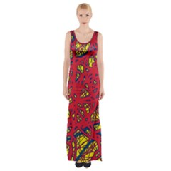 Yellow And Red Neon Design Maxi Thigh Split Dress by Valentinaart