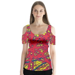 Yellow And Red Neon Design Butterfly Sleeve Cutout Tee