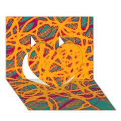 Orange Neon Chaos Heart 3d Greeting Card (7x5) by Valentinaart