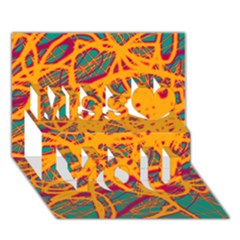 Orange Neon Chaos Miss You 3d Greeting Card (7x5) by Valentinaart