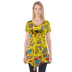 Yellow neon Short Sleeve Tunic  by Valentinaart