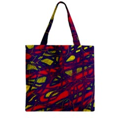Abstract High Art Zipper Grocery Tote Bag by Valentinaart