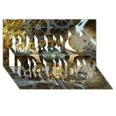 Steampunk, Awesome Owls With Clocks And Gears Happy Birthday 3d Greeting Card (8x4) by FantasyWorld7