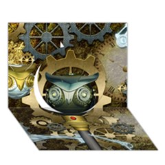 Steampunk, Awesome Owls With Clocks And Gears Circle 3d Greeting Card (7x5) by FantasyWorld7