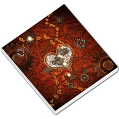 Steampunk, Wonderful Heart With Clocks And Gears On Red Background Small Memo Pads by FantasyWorld7
