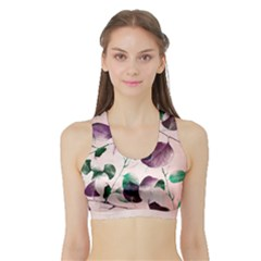 Spiral Eucalyptus Leaves Sports Bra With Border by DanaeStudio