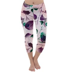 Spiral Eucalyptus Leaves Capri Winter Leggings  by DanaeStudio