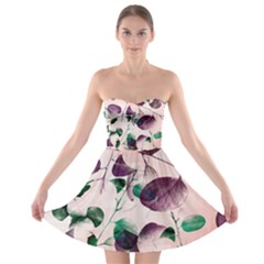 Spiral Eucalyptus Leaves Strapless Bra Top Dress by DanaeStudio