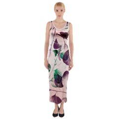 Spiral Eucalyptus Leaves Fitted Maxi Dress by DanaeStudio