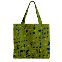 Green And Blue Zipper Grocery Tote Bag by Valentinaart