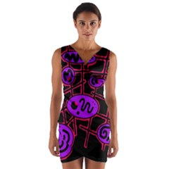 Purple And Red Abstraction Wrap Front Bodycon Dress