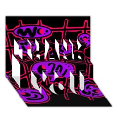 Purple And Red Abstraction Thank You 3d Greeting Card (7x5) by Valentinaart