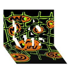 Orange And Green Abstraction Love 3d Greeting Card (7x5) by Valentinaart