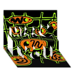 Orange And Green Abstraction Miss You 3d Greeting Card (7x5) by Valentinaart