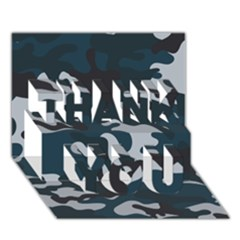 Blue Camo Pattern THANK YOU 3D Greeting Card (7x5) by artpics