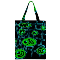 Green And Blue Abstraction Zipper Classic Tote Bag by Valentinaart