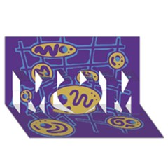 Purple and yellow abstraction MOM 3D Greeting Card (8x4) by Valentinaart