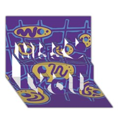 Purple And Yellow Abstraction Miss You 3d Greeting Card (7x5) by Valentinaart