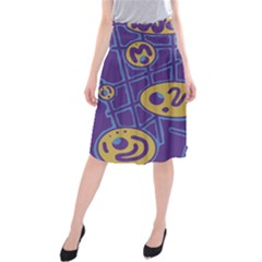 Purple And Yellow Abstraction Midi Beach Skirt