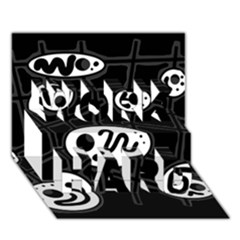 Black And White Crazy Abstraction  Work Hard 3d Greeting Card (7x5) by Valentinaart