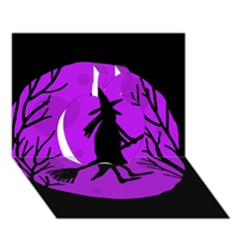 Halloween Witch   Purple Moon Apple 3d Greeting Card (7x5) by Valentinaart