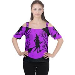 Halloween Witch   Purple Moon Women s Cutout Shoulder Tee by Valentinaart