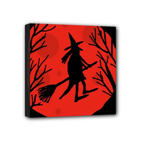 Halloween Witch   Red Moon Mini Canvas 4  X 4  by Valentinaart