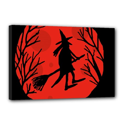 Halloween Witch   Red Moon Canvas 18  X 12  by Valentinaart