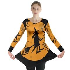 Halloween Witch   Orange Moon Long Sleeve Tunic  by Valentinaart