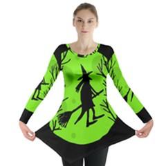 Halloween Witch   Green Moon Long Sleeve Tunic  by Valentinaart