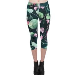 Modern Green And Pink Leaves Capri Leggings  by DanaeStudio