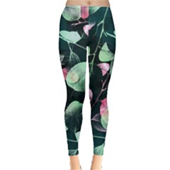 Modern Green And Pink Leaves Leggings  by DanaeStudio