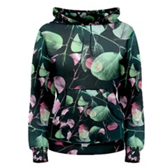 Modern Green And Pink Leaves Women s Pullover Hoodie by DanaeStudio