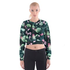 Modern Green And Pink Leaves Women s Cropped Sweatshirt by DanaeStudio