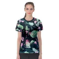 Modern Green And Pink Leaves Women s Sport Mesh Tee by DanaeStudio
