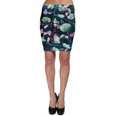 Modern Green And Pink Leaves Bodycon Skirt by DanaeStudio