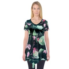 Modern Green And Pink Leaves Short Sleeve Tunic  by DanaeStudio