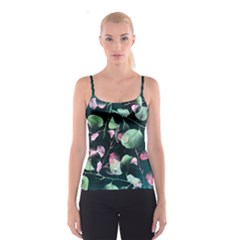 Modern Green And Pink Leaves Spaghetti Strap Top by DanaeStudio