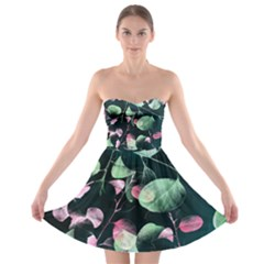 Modern Green And Pink Leaves Strapless Bra Top Dress by DanaeStudio