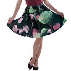Modern Green And Pink Leaves A Line Skater Skirt by DanaeStudio