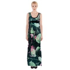 Modern Green And Pink Leaves Maxi Thigh Split Dress by DanaeStudio
