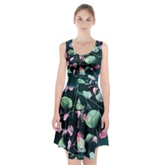 Modern Green And Pink Leaves Racerback Midi Dress by DanaeStudio