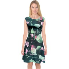 Modern Green And Pink Leaves Capsleeve Midi Dress by DanaeStudio